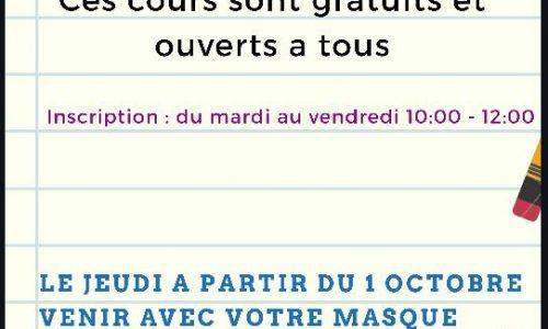 Les Cours De Français Reprennent à Partir Du 1er Octobre